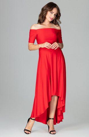 Sukienka wizytowa bez ramion asymetryczna czerwona