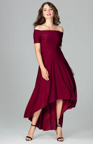 Sukienka wizytowa bez ramion asymetryczna bordo