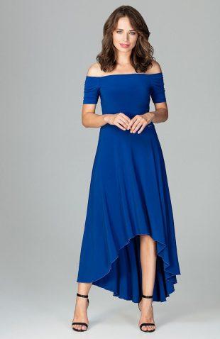 Sukienka wizytowa bez ramion asymetryczna szafirowa