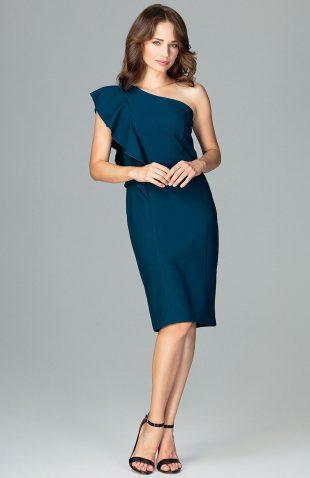 Elegancka sukienka na jedno ramię z falbaną morska