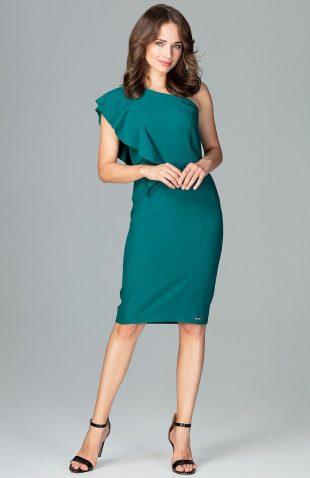 Elegancka sukienka na jedno ramię z falbaną zielona