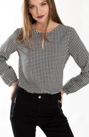 Elegancka bluzka na jesień w pepitkę
