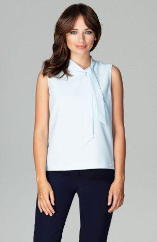Elegancka bluzka bez rękawów z wiązaniem błękit