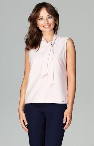 Elegancka bluzka bez rękawów z wiązaniem róż