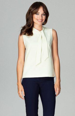 Elegancka bluzka bez rękawów z wiązaniem żółta