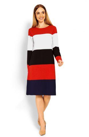 Sukienka midi o luźnym kroju w kolorowe pasy