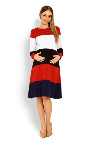 Kolorowa ciążowa sukienka midi o luźnym kroju