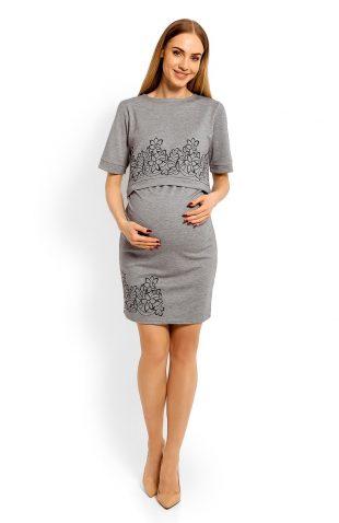 Elegancka sukienka ciążowa do karmienia hafty szara