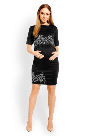 Elegancka sukienka ciążowa do karmienia hafty czarna