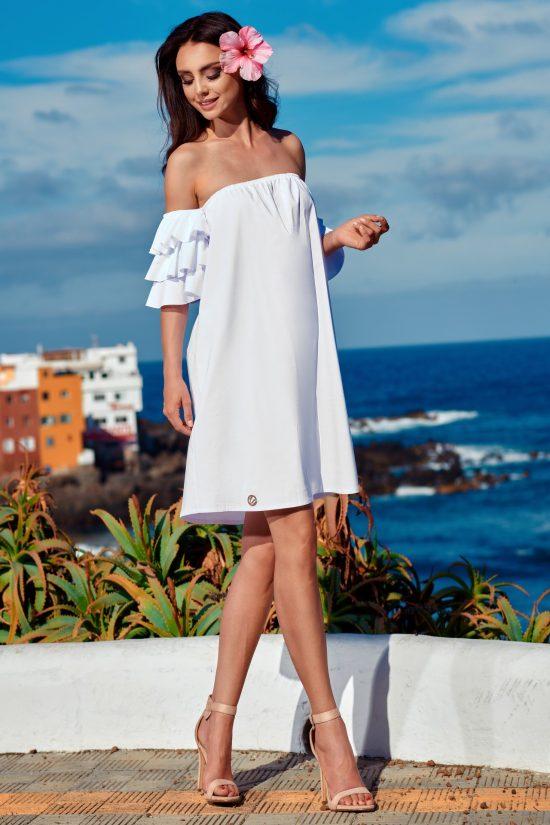 Elegancka sukienka hiszpanka z falbanami