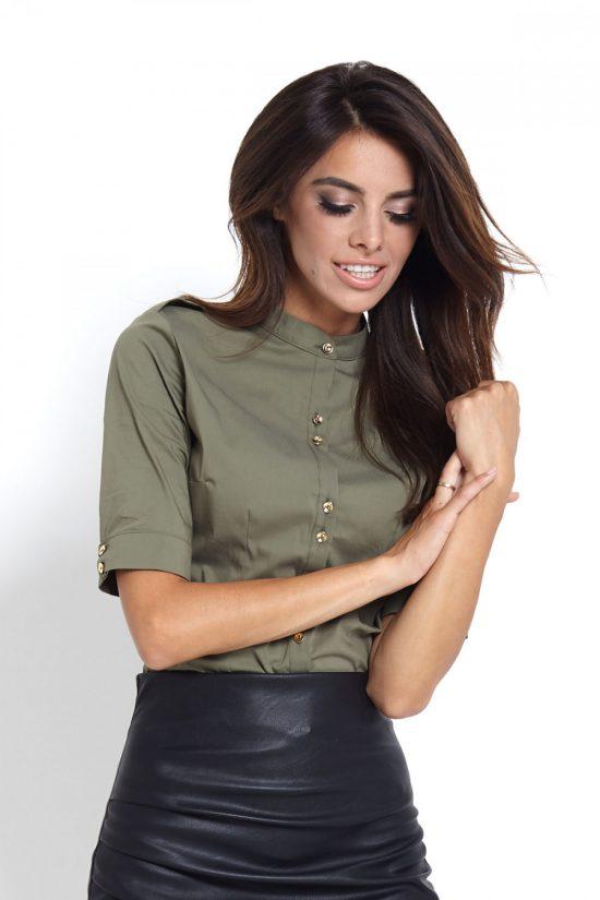Elegancka koszula ze stójką na guziki oliwka