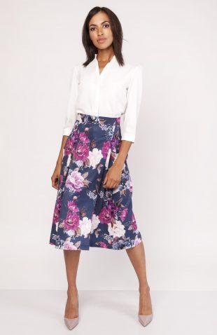 Rozkloszowana spódnica w kwiaty za kolano do pracy