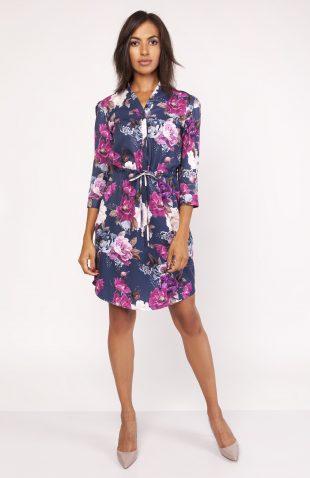 Sukienka koszulowa w kwiaty do kolan
