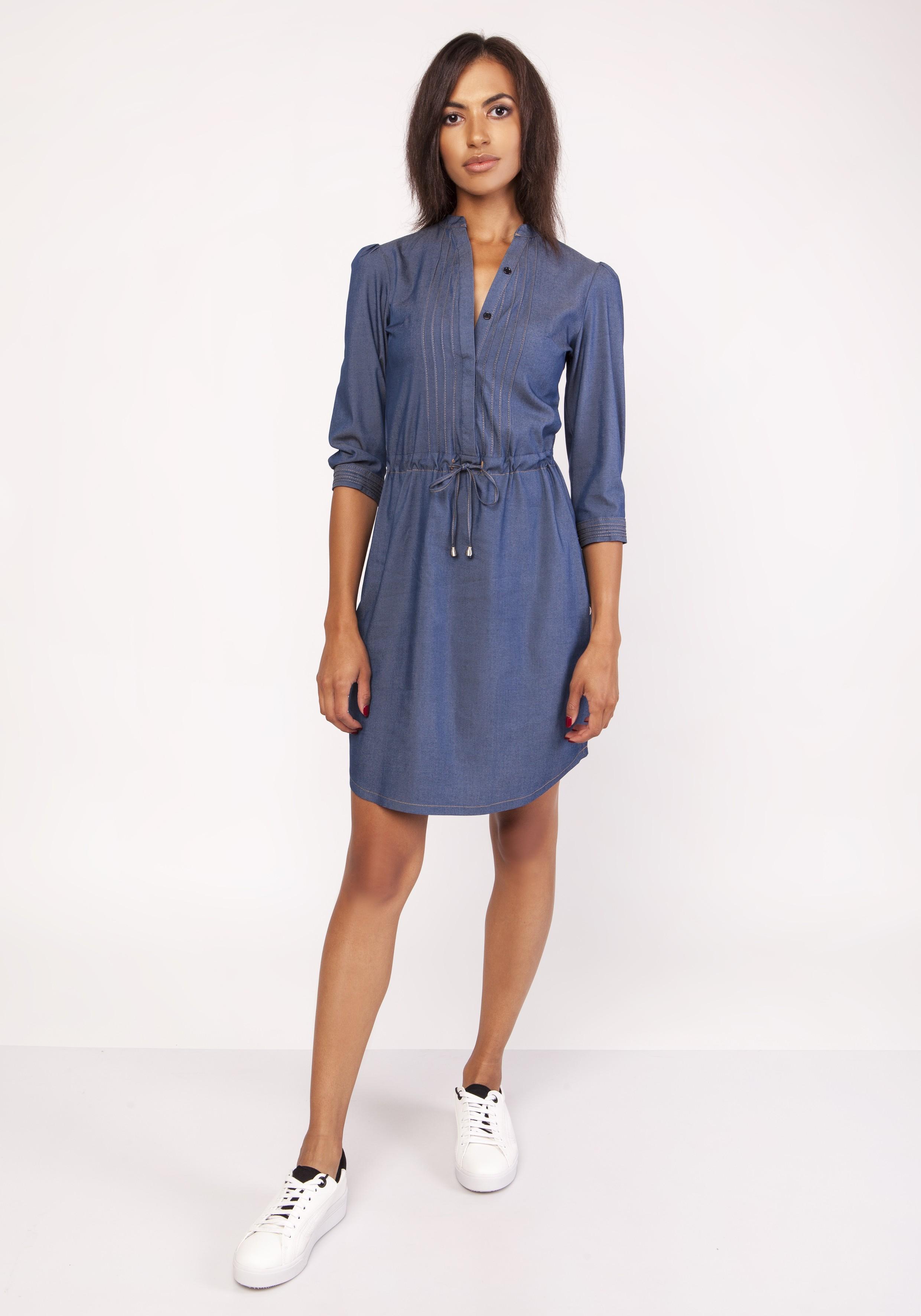1c5ba03aeb Sukienka koszulowa jeans do kolan - modne sukienki szyte w Polsce