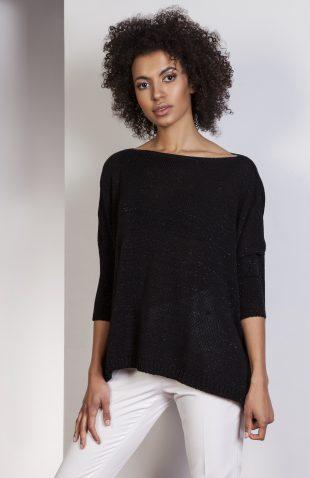 Elegancki sweter z metalizowaną nitką czarny