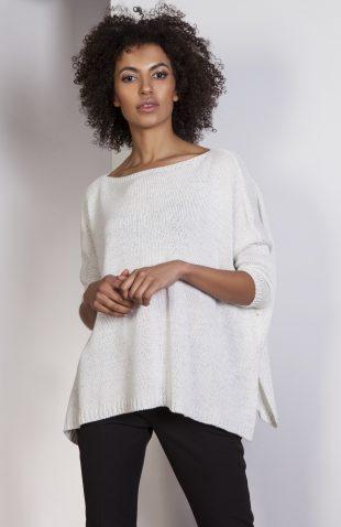 Elegancki sweter z metalizowaną nitką ecru
