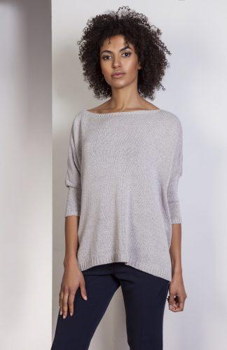 Elegancki sweter z metalizowaną nitką szary