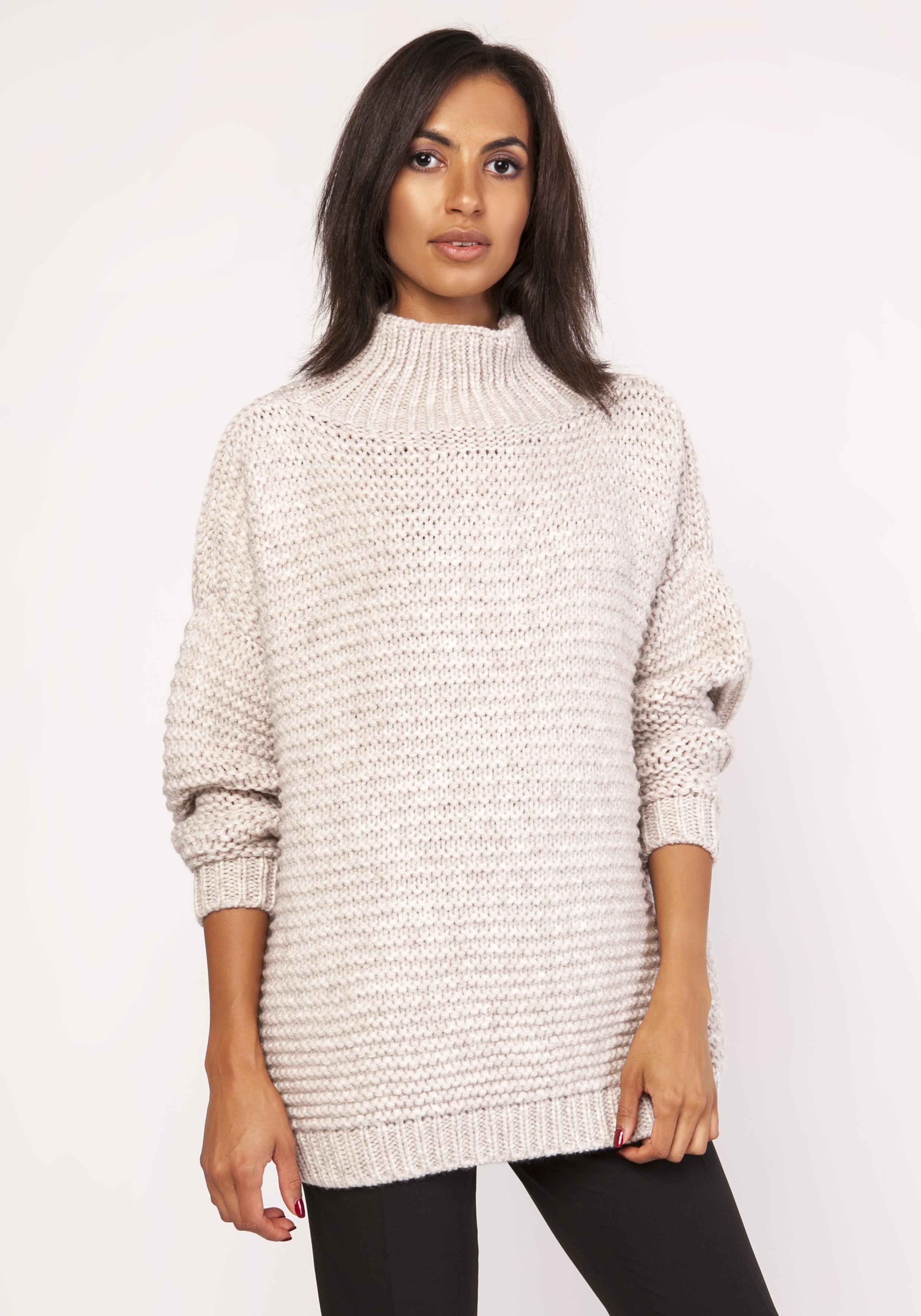 6c163e94 Ciepły dzianinowy sweter z golfem beżowy
