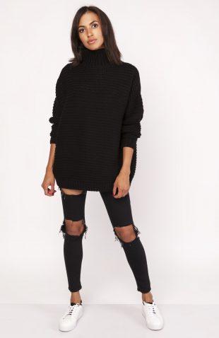 Ciepły dzianinowy sweter z golfem czarny