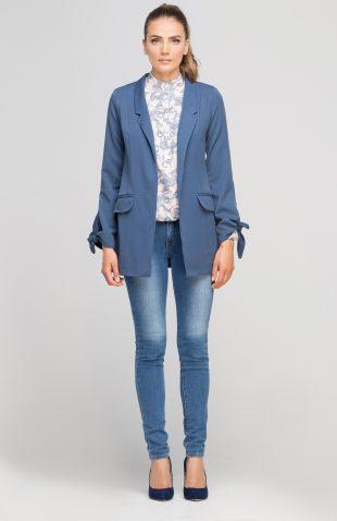Elegancki długi żakiet niebieski