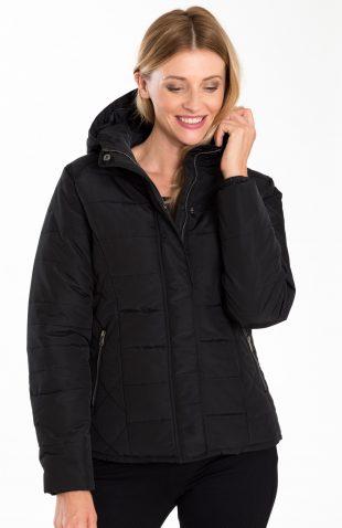 Ciepła krótka pikowana kurtka z kapturem czarna