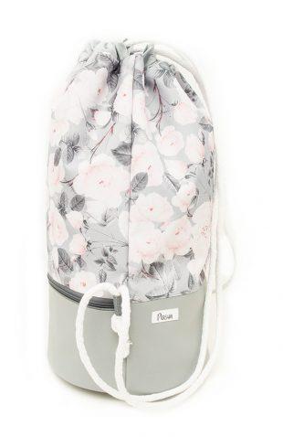 Plecak worek z łączonych materiałów pastelowe róże