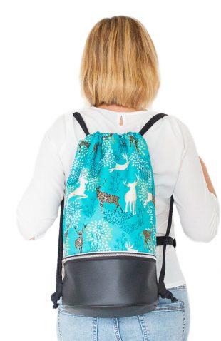 Plecak worek z okrągłym dnem turkusowy w jelenie