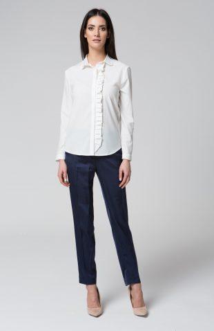 Elegancka delikatna bluzka koszulowa z falbaną ecru
