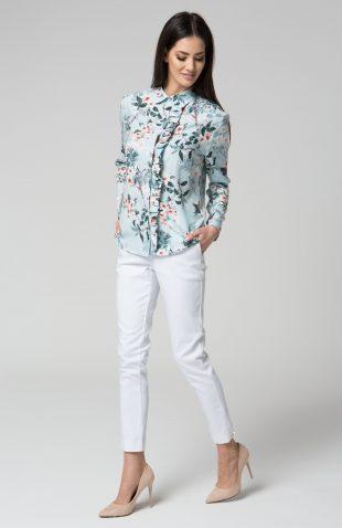 Elegancka delikatna bluzka koszulowa z falbaną niebieska