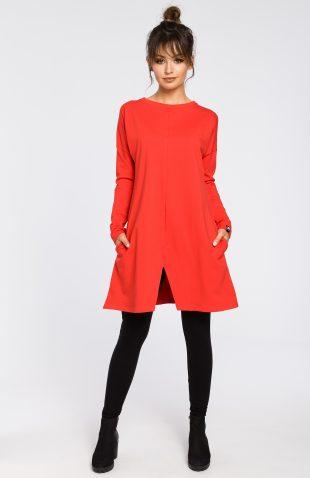 Bawełniana tunika z długim rękawem czerwona