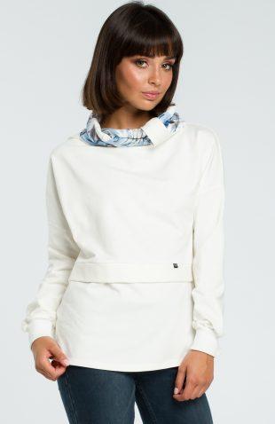 Damska bluza bawełniana z kolorowym kołnierzem ecru