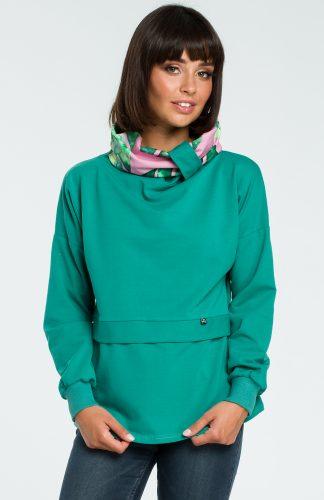 Damska bluza bawełniana z kolorowym kołnierzem zielona