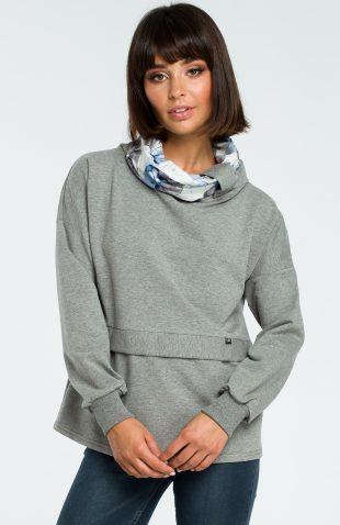 Damska bluza bawełniana z kolorowym kołnierzem szara