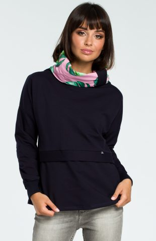 Damska bluza bawełniana z kolorowym kołnierzem granat