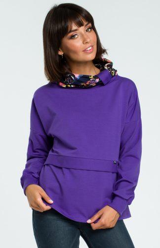 Damska bluza bawełniana z kolorowym kołnierzem fioletowa