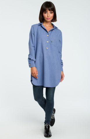 Długa koszula z lnem na guziki niebieska