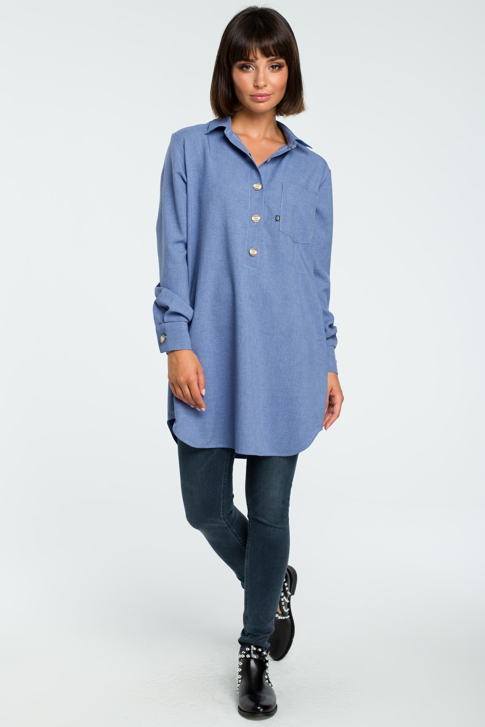 5f78fbda42 Długa koszula z lnem na guziki niebieska - wysyłka kurierem już od 5 ...