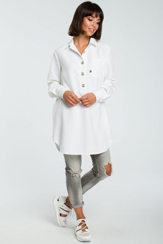 Długa koszula z lnem na guziki biała
