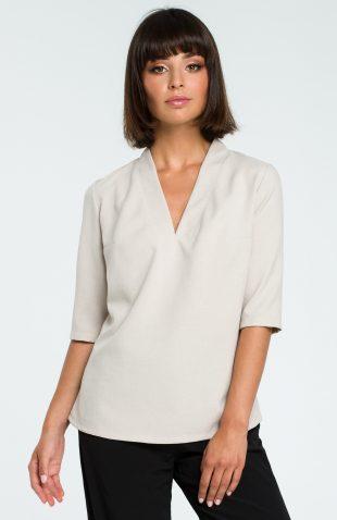 Elegancka bluzka koszulowa z lnem beżowa