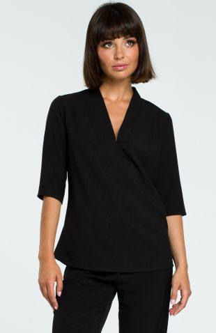 Elegancka bluzka koszulowa z lnem czarna