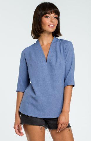 Elegancka bluzka koszulowa z lnem niebieska