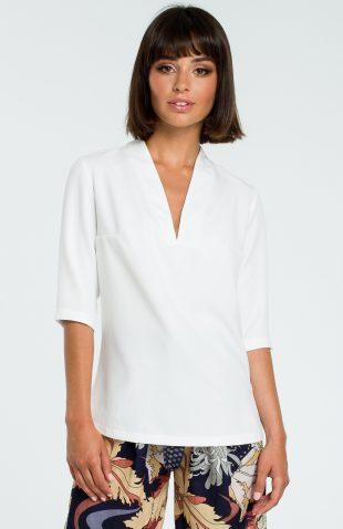 Elegancka bluzka koszulowa z lnem biała