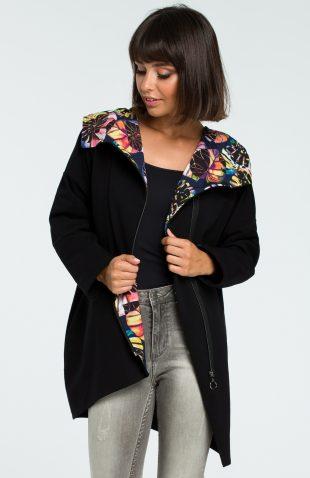 Bluza damska z kapturem zapinana na suwak czarna