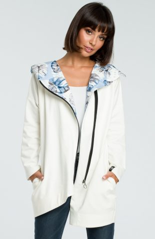 Bluza damska z kapturem zapinana na suwak ecru
