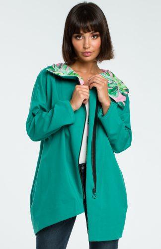 Bluza damska z kapturem zapinana na suwak zielona