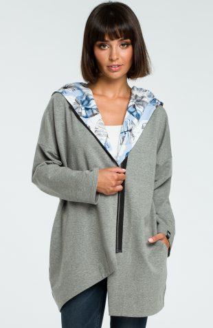 Bluza damska z kapturem zapinana na suwak szara