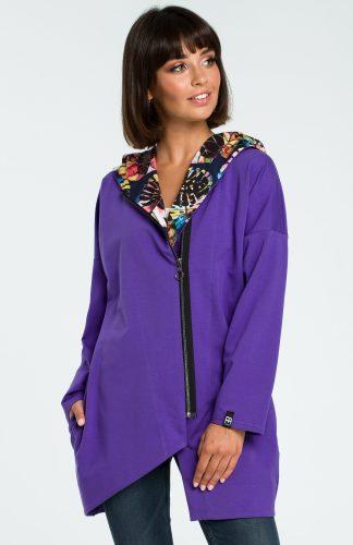 Bluza damska z kapturem zapinana na suwak fioletowa