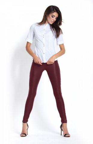 Dopasowane spodnie rurki ze skóry ekologicznej bordowe