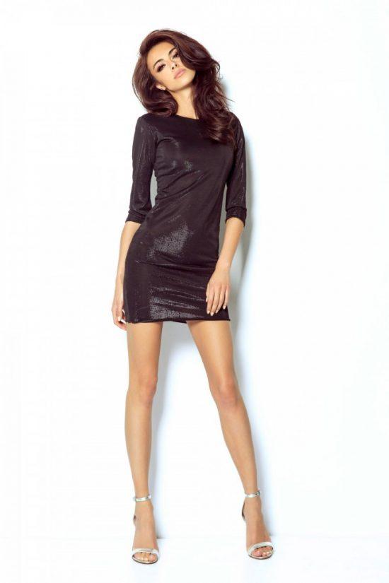 Elegancka połyskująca sukienka na przyjęcia czarna