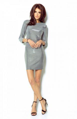 Elegancka połyskująca sukienka na przyjęcia srebrna